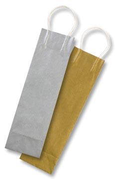 Folia papieren kraft zak voor flessen, 110 g/m², goud en zilver, pak van 6 stuks