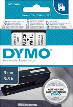 Dymo D1 tape 9 mm, zwart op wit