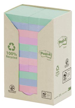 Post-it Notes gerecycleerd, ft 38 x 51 mm, geassorteerde kleuren, 100 vel, pak van 24 blokken