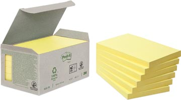 Post-it Notes gerecycleerd, ft 76 x 127 mm, geel, 100 vel, pak van 6 blokken