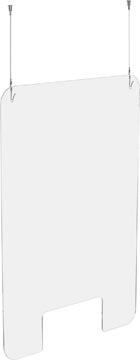 Exascreen beschermwand voor adem/sputum, glashelder, hangend, ft 100 x 66 cm, met bevestigingskit