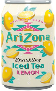 Arizona ijsthee Sparkling Green Tea Peach, blik van 33 cl, pak 12 stuks