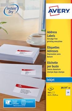 Avery Witte etiketten QuickDry doos van 40 blad, ft 63,5 x 33,9 mm (b x h), 960 stuks, 24 per blad Me...
